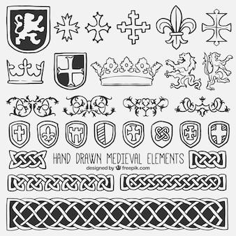 Raccolta di scudo ed elemento medievale