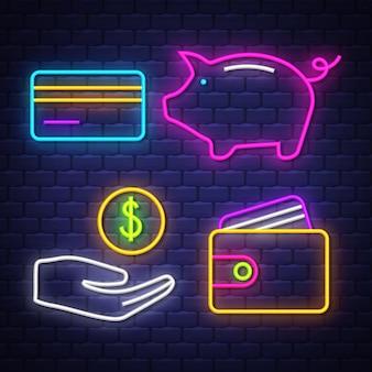 Raccolta di segni al neon di denaro e bancari