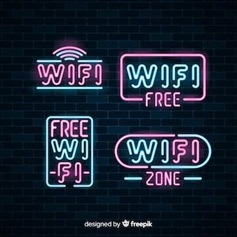 Raccolta di segno di wifi gratuito al neon