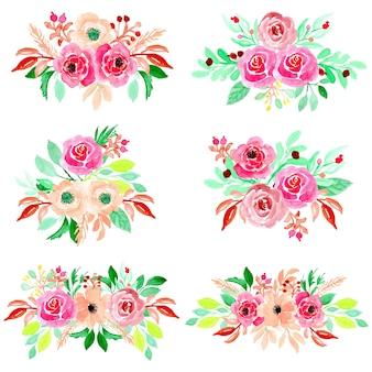 Raccolta di sei bouquet floreali dell'acquerello