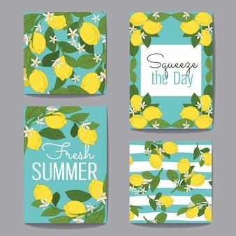 Raccolta di set di cartoline d'auguri di agrumi