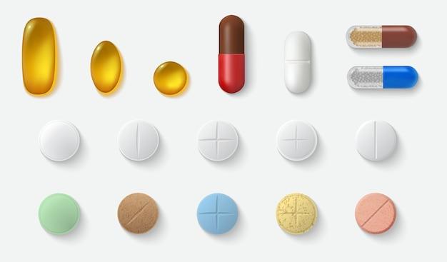 Raccolta di set di pillole realistiche. modello di realismo stile disegnato cure mediche capsule compresse aspirina antibiotici vitamine su sfondo bianco. illustrazione di supporto sanitario e medico