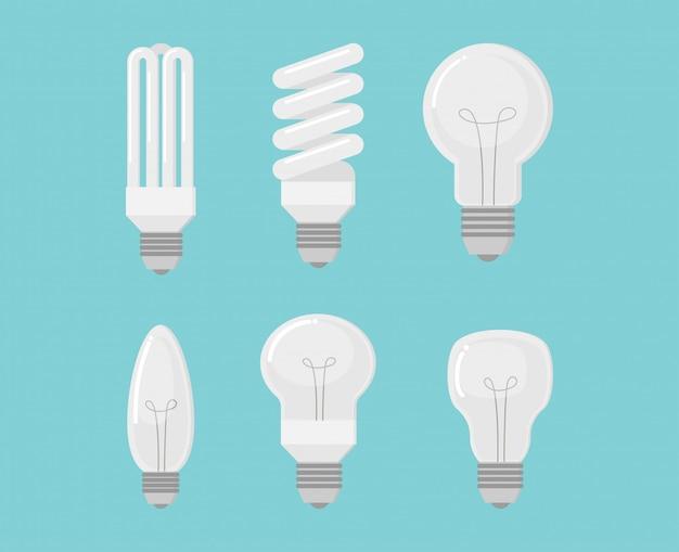 Raccolta di set vettoriale di lampadina elettrica