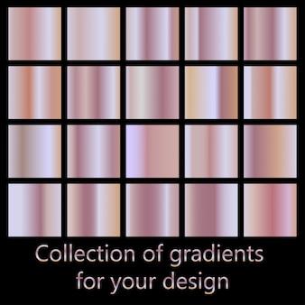 Raccolta di sfumature rosa. collezione sfumata in oro rosa per il design della moda.