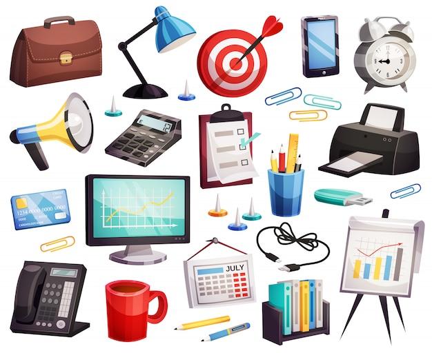 Raccolta di simboli degli accessori dell'ufficio di affari