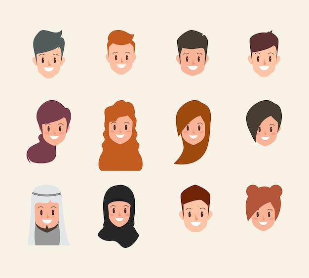 Raccolta di simboli dell'icona di persone viso e testa.