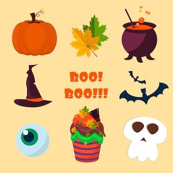 Raccolta di simboli di halloween.