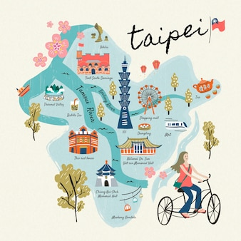 Raccolta di simboli di viaggio di taiwan, attrazioni famose in stile disegnato a mano e deliziosi snack a taipei