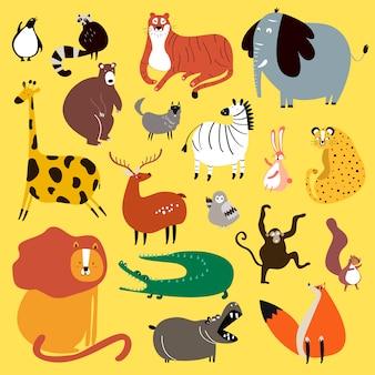 Raccolta di simpatici animali selvatici in stile cartone animato vettoriale