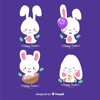 Raccolta di simpatici coniglietti pasquali