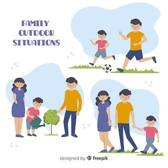 Raccolta di situazioni all'aperto famiglia disegnata a mano