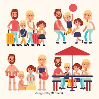 Raccolta di situazioni di famiglia piatte all'aperto