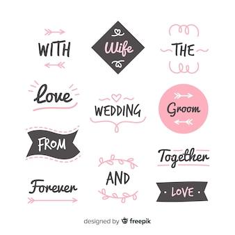 Raccolta di slogan di nozze disegnati a mano