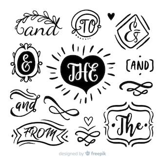 Raccolta di slogan matrimonio carino disegnato a mano