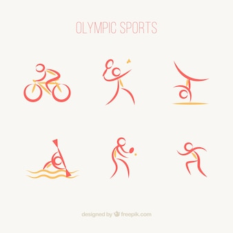 Raccolta di sport olimpici in stile astratto