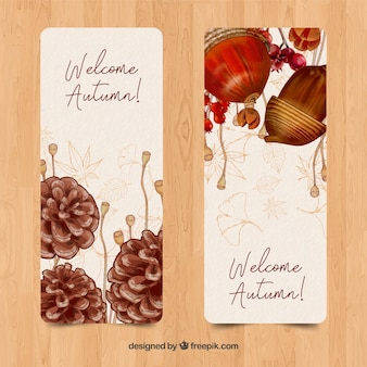 Raccolta di stile dell'acquerello banner autunno