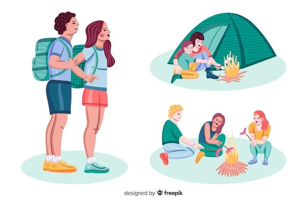 Raccolta di stile disegnato a mano campeggio persone