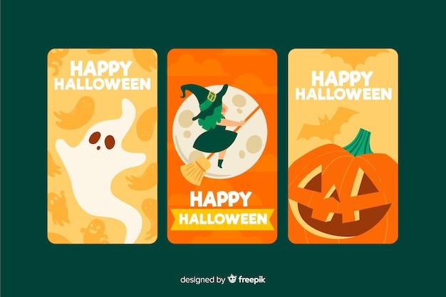 Raccolta di storie di halloween instagram in tonalità arancione