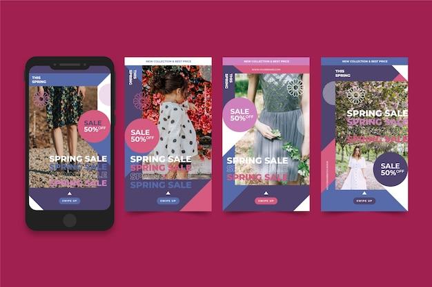 Raccolta di storie di instagram con il concetto di vendita di primavera