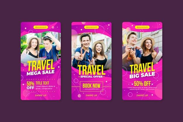 Raccolta di storie di instagram di vendita di viaggio
