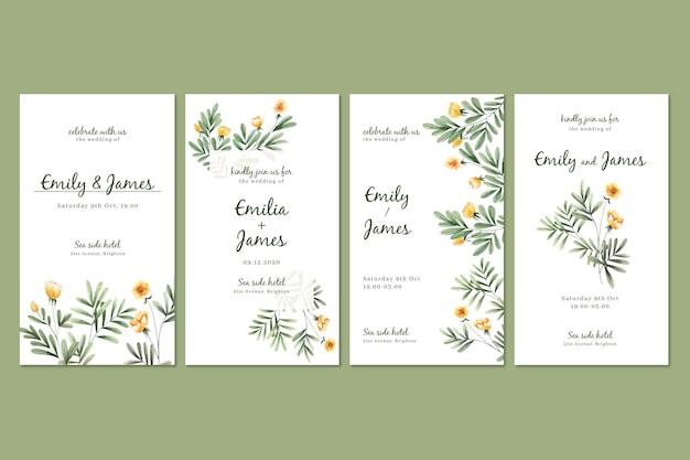 Raccolta di storie di instagram floreale dell'acquerello per il matrimonio