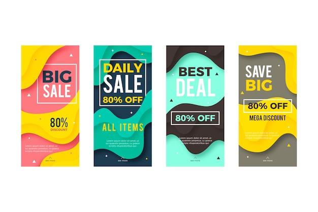 Raccolta di storie di vendita colorate su instagram con effetto fluido