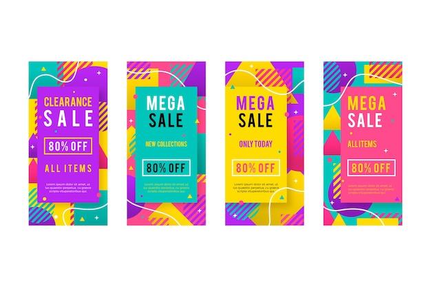 Raccolta di storie di vendita su instagram colorate di memphis