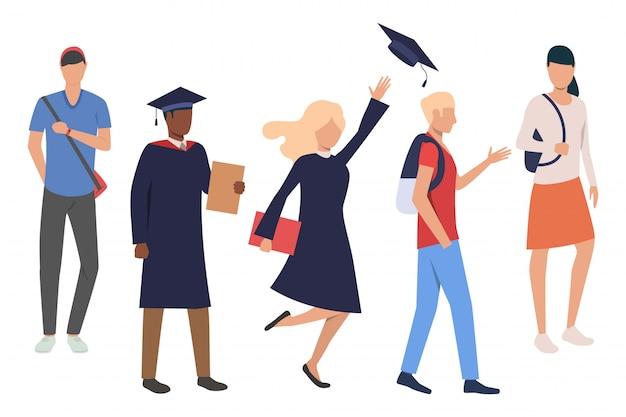Raccolta di studenti che celebrano la laurea