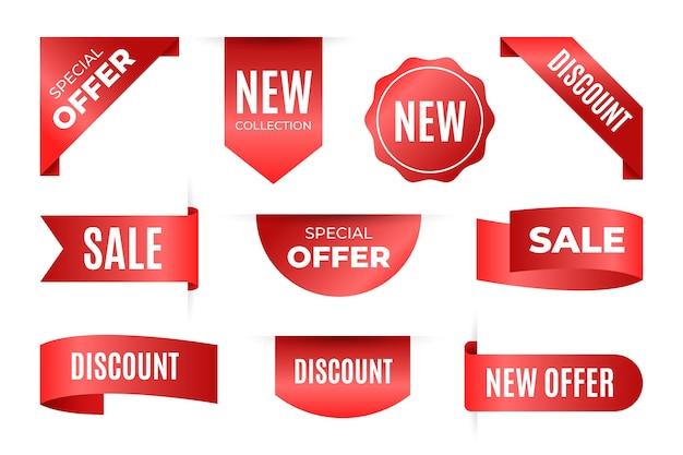 Raccolta di tag di vendita realistici con testo