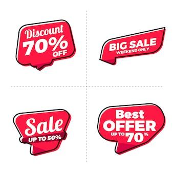Raccolta di tag etichette di grande vendita