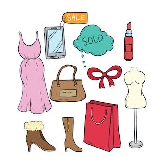Raccolta di tempo per lo shopping delle donne con doodle colorato o stile disegnato a mano