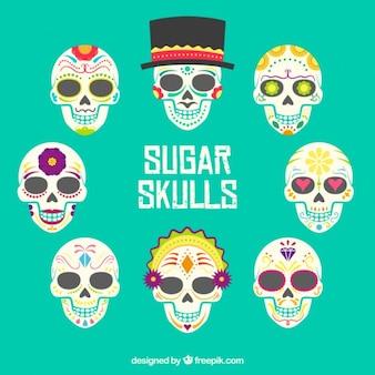 Raccolta di teschi di zucchero colorati