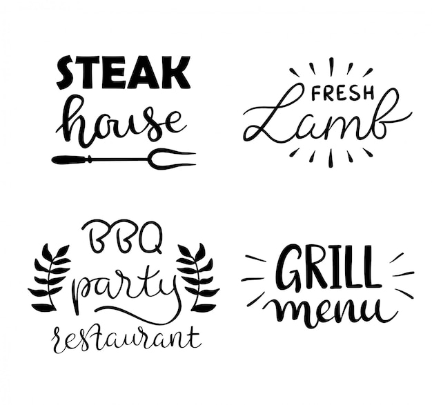 Raccolta di testo disegnato a mano di cibo grigliato, salsicce, pollo, patatine fritte, bistecche, pesce