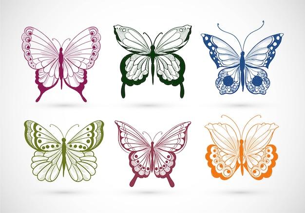 Raccolta di tiraggio della mano di farfalle piuttosto colorate