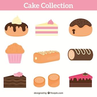 Raccolta di torte e dolci in stile piatto