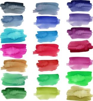Raccolta di tratti ad acquerello, elementi di colore brillante