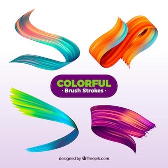 Raccolta di tratti di pennello con molti colori