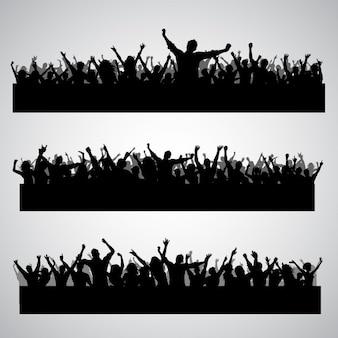 Raccolta di tre diverse sagome partito folla