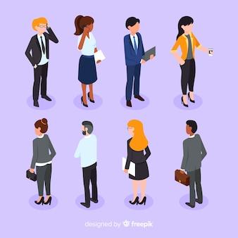 Raccolta di uomini d'affari in stile isometrico