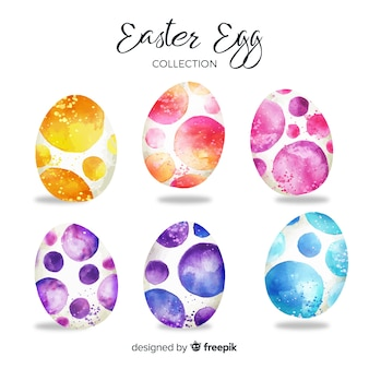 Raccolta di uova di pasqua giorno dell'acquerello