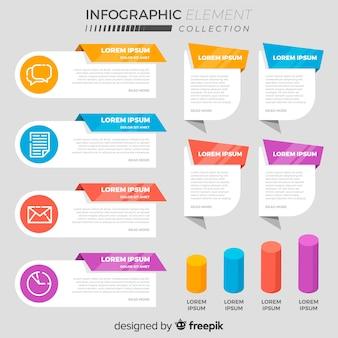 Raccolta di vari elementi di infografica piatta