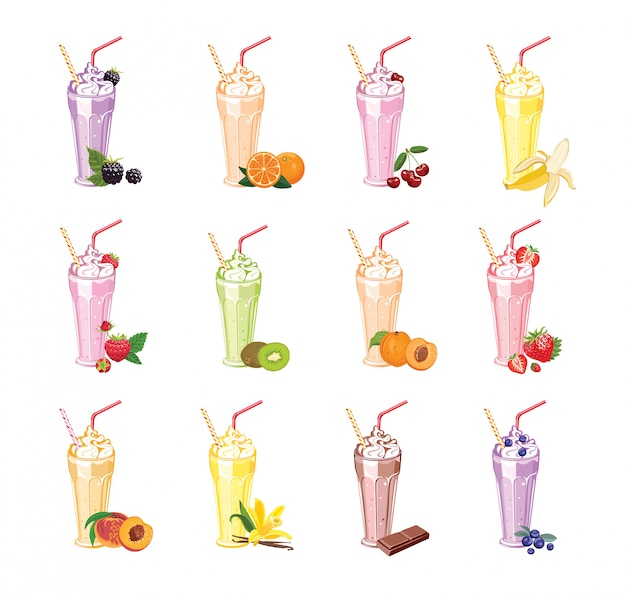 Raccolta di vari frullati di frutta e bacche in bicchieri.