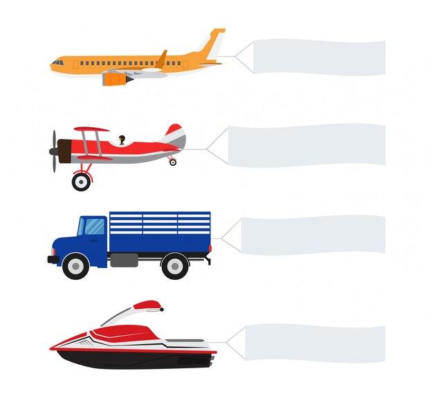 Raccolta di veicoli e trasporto con banner pubblicitari