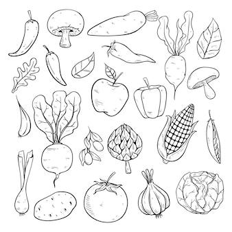 Raccolta di verdure con schizzo o stile disegnato a mano