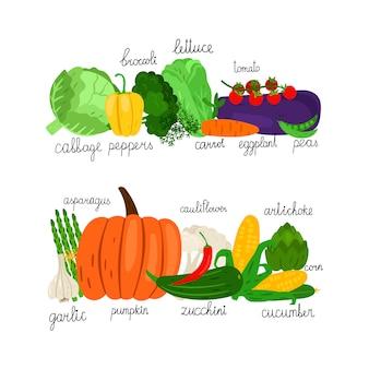 Raccolta di verdure dei cartoni animati. mercato di alimenti freschi su sfondo bianco
