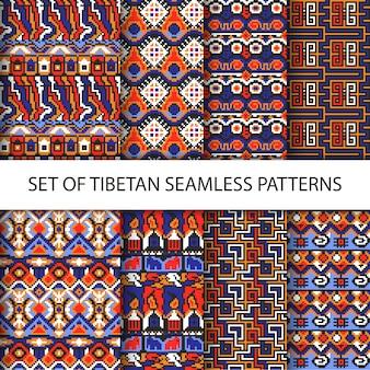 Raccolta di vettore colorato di pixel senza soluzione di modelli con il tibet ornamento etnico