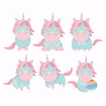 Raccolta di vettore degli unicorni divertenti piani isolati