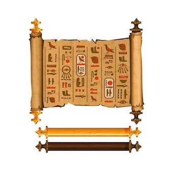 Raccolta di vettore del fumetto del rotolo del papiro dell'antico egitto con i geroglifici e la cultura egiziana