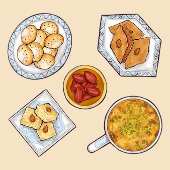 Raccolta di vettore del fumetto di vari dolci orientali