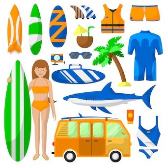 Raccolta di vettore di attrezzature sportive di surf.